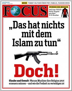 Titelseite des FOCUS (17. Januar 2015) mit trotzig-plumpem Slogan